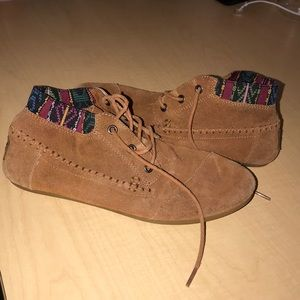 TOMS Tan Booties with Patterned Ankle